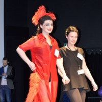 Hair show red dress