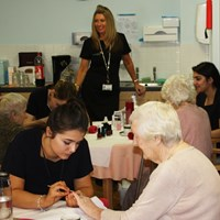 Students pamper care home residents